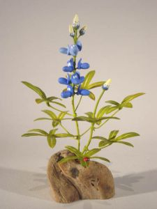 Single Bluebonnet with Ladybug by Charles Allen