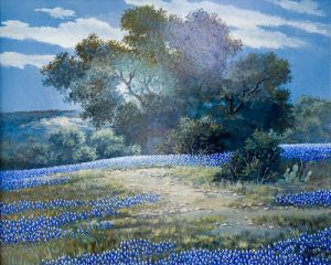 Bluebonnets at Night, Original by John French