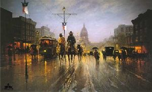 Streetcars Along the Avenue by G. Harvey